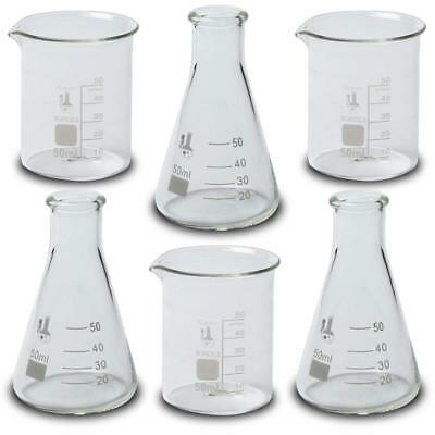 Lab Theme Shot Glass Set 3-50ml Beakers And 3-50ml Flasks Karter Scientific