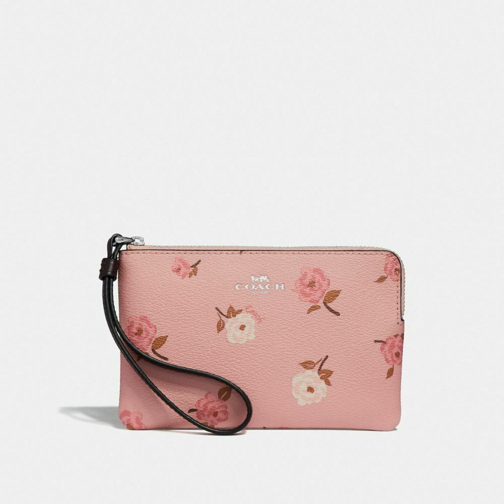 New Coach F58032 F58035 Corner Zip Wristlet With Gift Box New With Tags Petal Flower