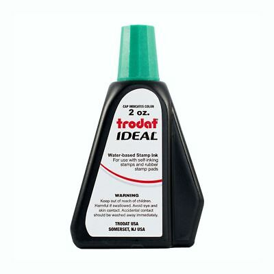 Green Self-inking Stamp Ink, 2 Oz Drip Spout Bottle, for Trodat Ideal Stamps ()