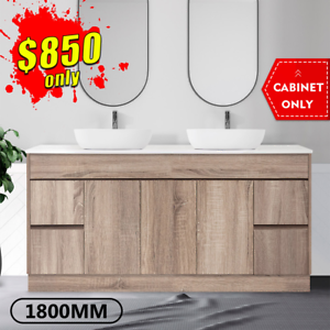 Bathroom Vanity 1800mm Freestanding Timber Look Oak Cabinet LOGAN *NEW