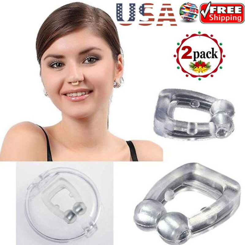 2 Pack Clipple Silicone Magnetic Anti Snore Stop Snoring Nose Clip Sleeping Aid