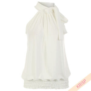 Halter Neck Draped Ruched Top Blouse Flattering Bow Tie Summer Party Evening