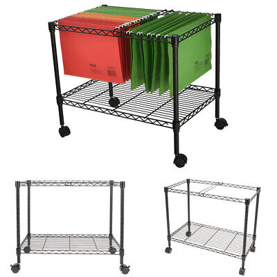 2-tier Metal Rolling File Cart Organizer 4 Swivel Casters Indoor Portable Black