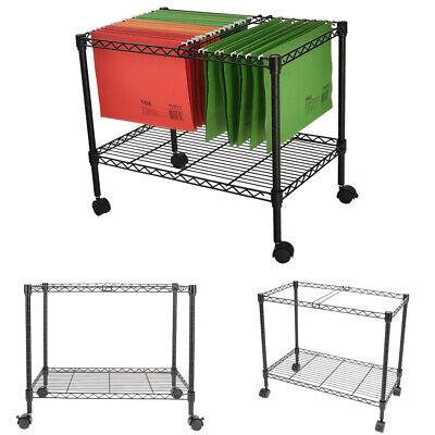 2-tier Metal Rolling File Cart Organizer 4 Swivel Casters Indoor Portable Black