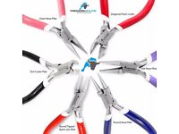 Set of 6 Chain, Round & Fat Nose, Flush & End Cutter, Nylon Jaw Pliers Jewellery Making Tools