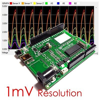 Icp12a - 1mv Daqduino Usb Io Pwmpc Oscilloscope Data Logger In Arduino Form