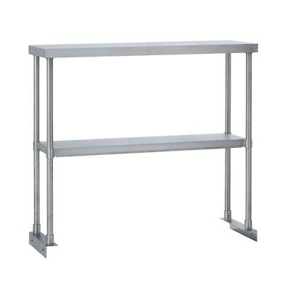 Commercial Kitchen Stainless Steel Double Overshelf For Work Tables 12x48