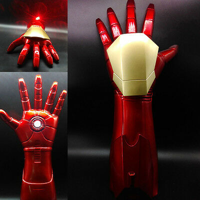 The Avengers Iron Man Stark Gauntlet Glove LED Light Hand with Laser 1:1 Cosplay (Iron Man Hands)