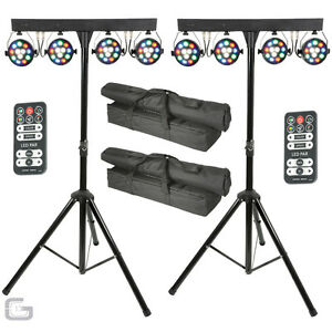 QTX PB-1214 48W RGBW Par LED DJ DMX Band Stage Lighting Party Bar Pair Package
