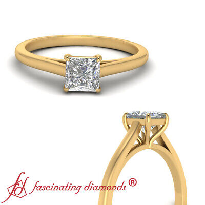 Cathedral Solitaire Engagement Ring With 3/4 Carat Princess Cut Diamond Center