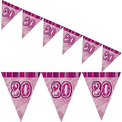 9ft Pink Sparkle Happy 80th Birthday Pennant Flag Banner Party Decoration (80th Birthday Banners)