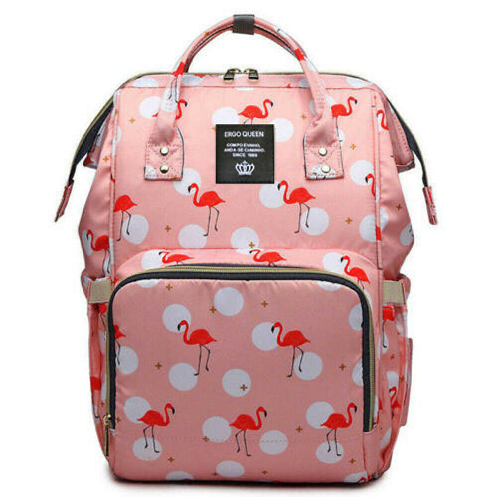Ergo Diaper Bag Backpack Mummy Maternity Nappy Large Capacity Baby Bag Travel  Pink Flamingo