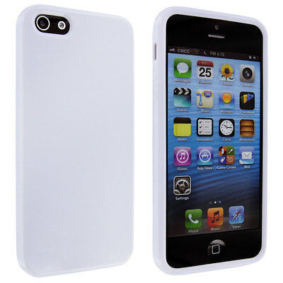 White TPU Gummy Case Cover for iPhone 5 5S iPhone SE - White Gummy
