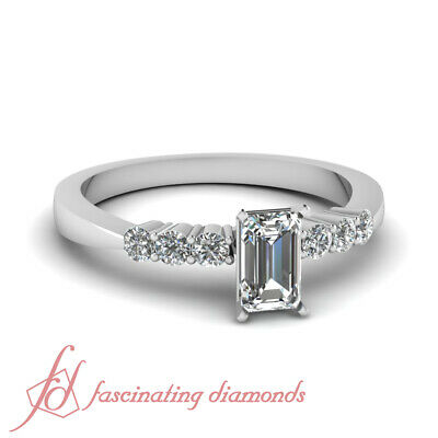 3/4 Carat Emerald Cut Diamond Tapered Edge White Gold Engagement Ring For Women