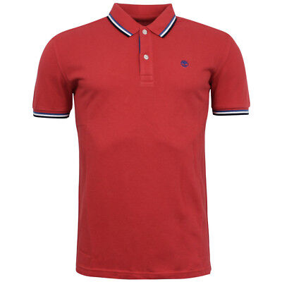 Timberland Red Cotton Mens Polo Top Stripe Short Sleeve Shirt 0YGET TR4 UA41