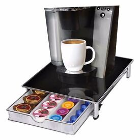 Smart Design New Stackable Coffee Pod & Capsule Drawer/Organiser with Glass Top