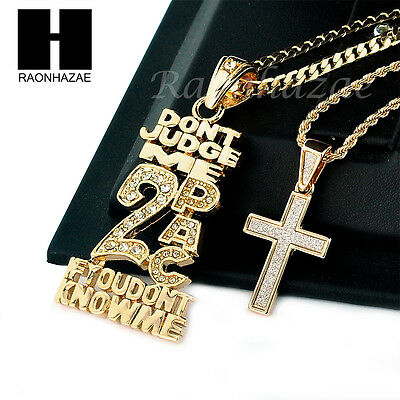 "MEN ICED OUT 2PAC & CROSS PENDANT CUBAN / ROPE CHAIN 24"" 30"" NECKLACE SET SS38"
