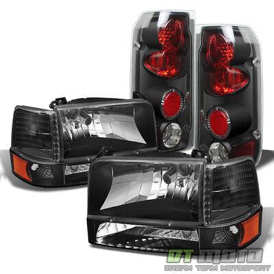 Black 1992-1996 Ford F150 F250 Bronco Headlights+Bumper Corner Lamps+Tail Lights