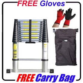 £55 *FREE GLOVES + BAG * NEW 3.2m ALUMINIUM TELESCOPIC EXTENDABLE LADDER EN-131 HOME WORK BUSINESS