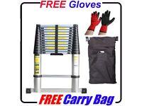 £55 *FREE GLOVES + BAG * NEW 3.2m ALUMINIUM TELESCOPIC EXTENDABLE LADDER EN-131 HOME WORK BUSINESS