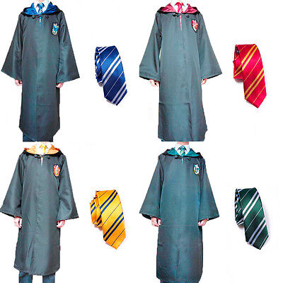 Adult/Kids Wizard Costume Black Cloak Red/Yellow/Blue/Green Robe World Book Day
