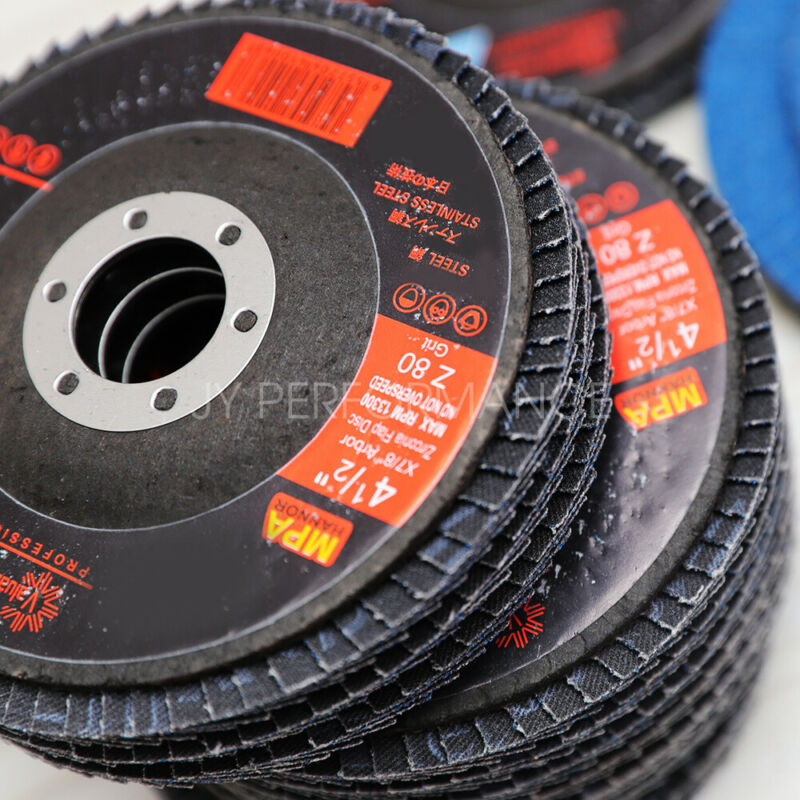 "60 GRIT 50 PACK PREMIUM ZIRCONIA FLAP DISC SANDING GRINDING 4-1/2"" X 7/8"" WHEELS"