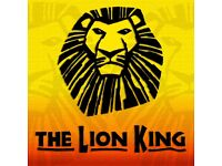 4x Lion king tickets for tomorrow the 28th of October at 7:30pm, stalls seats y43 to y46