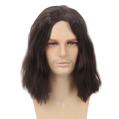 Mens Cosplay Winter Soldier Wig Dark Brown Wavy Male Long Length Synthetic (Brown Brown Male)