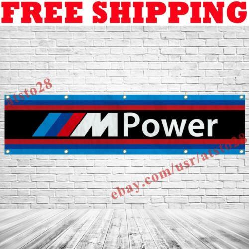 BMW M Power Logo Banner Flag 2x8 ft Car Show Garage Wall Decor Sign 2021 NEW
