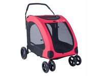 60% OFF! Pet Travel Dog Stroller Dog Puppy Pram Jogger Cat Pushchair with 4 Swivel Wheels