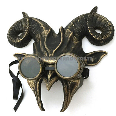 Ram Horn Goat Masquerade Mask Removable Goggles Halloween Costume Parade Party - Ram Horn Costume