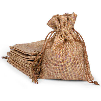 25/50/100x Burlap Wedding Favor Bags Natural Line Jewelry Pouches Jute Gift Bag - Wedding Favor