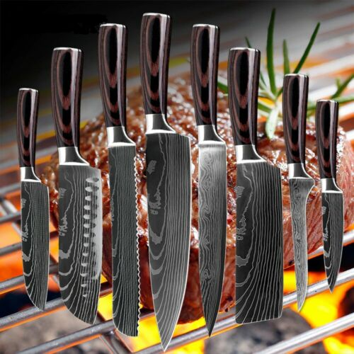 8 Piece Kitchen Knives Set Japanese Damascus Style Stainless Steel Chef Knife