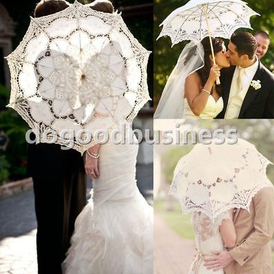 White Lace Umbrella ( White Wedding Umbrella Battenburg Lace Bridal lace Parasol Umbrella Vintage  )