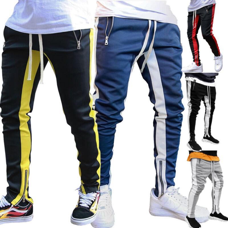 Mens Gym Slim Fit Pants Bottoms Skinny Sport Jogging Joggers Sweatpants Trousers