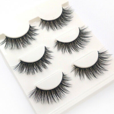 3 Pairs 100% Real Mink 3D Volume Thick Cross Daily False Eyelashes Strip Lashes
