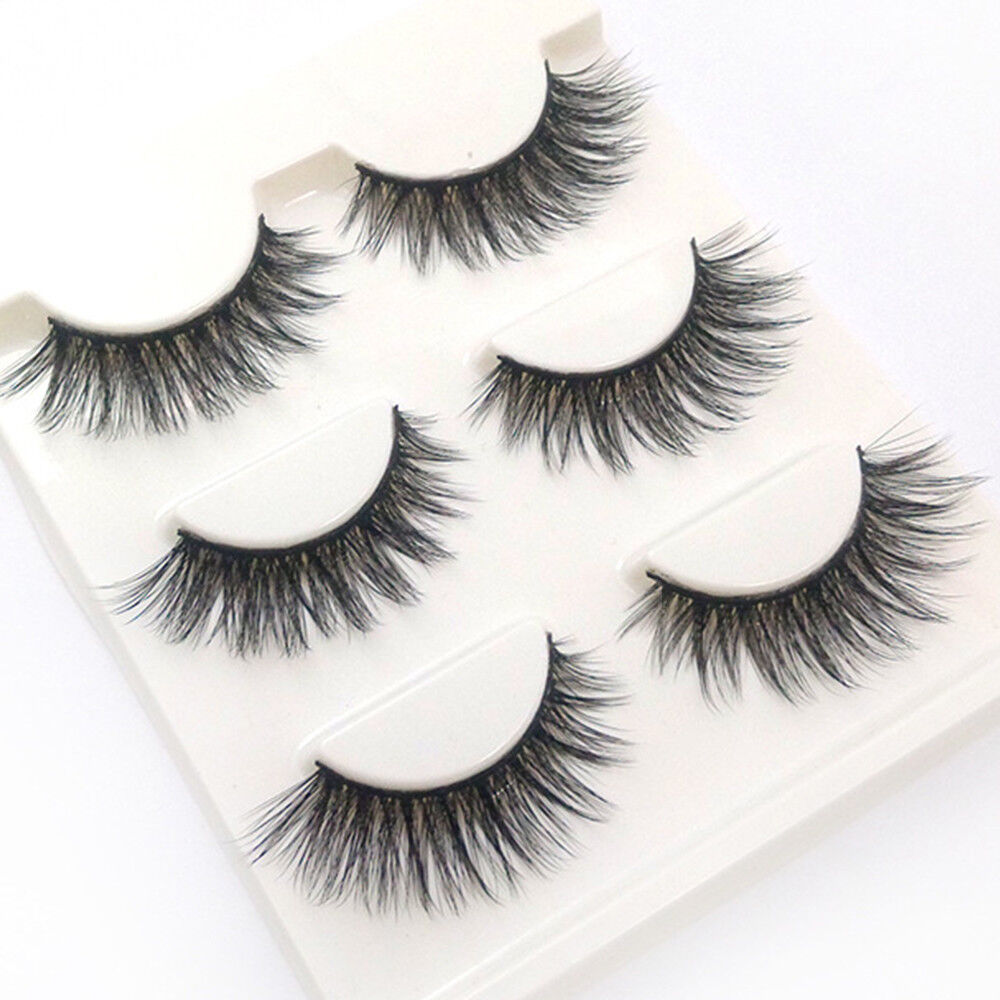 3 Pairs 100% Real Mink 3D Volume Thick Cross Daily False Eye