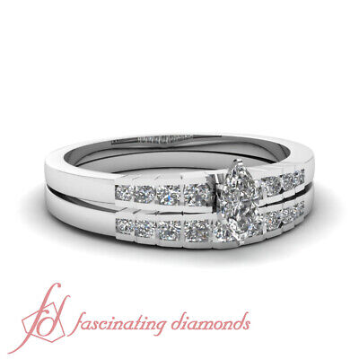 3/4 Carat Marquise Cut SI1-D Color Diamond Wedding Rings Channel Set 14K GIA