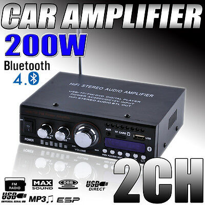 200W Mini Bluetooth Car Motorcycle Power Amplifier HiFi Stereo AMP FM MP3 Audio