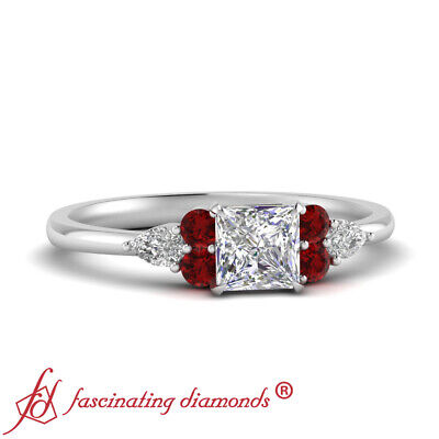 Princess Cut SI1 Diamond And Ruby Gemstone Tapered Edge Engagement Ring 0.90 Ctw
