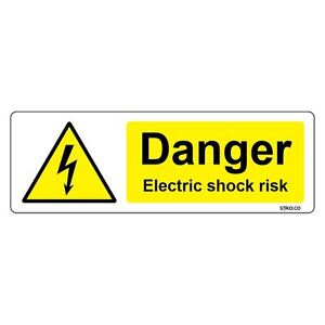 Danger Electric Shock Risk Sign 150 x 50mm Warning Hazard Vinyl Sticker decal
