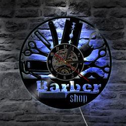 Vinyl Wall Clock Modern Design Barber shop LED Clocks Wall Watch Home Decor