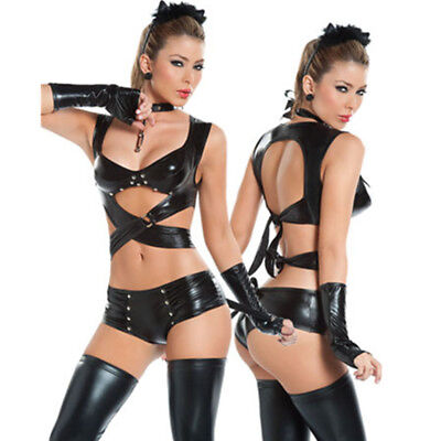 Underwear Halloween Costume (Sexy Cat Lady Women's Witch Uniform Cosplay Outfit Underwear Costume)