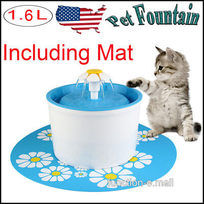 1.6L Pet Cat Dog Water Drinking Automatic Fountain Filter Feeder Bowl+Mat USA
