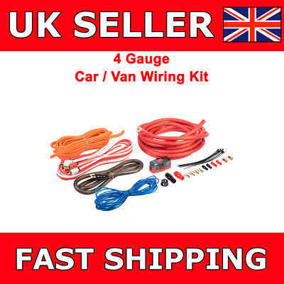 4 AWG Gauge Power Ground RCA Fuse Amplifier Wiring Kit For Car Van Sub Amp  4 Awg Power Amplifier