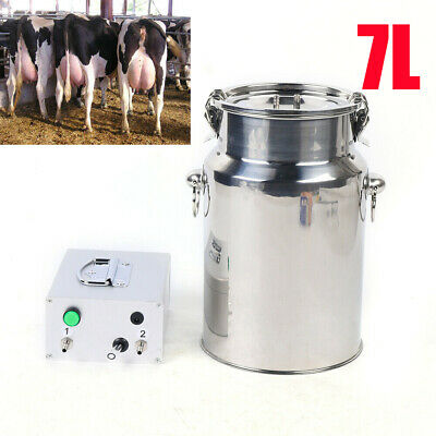 7l Portable Vacuum Pump Electric Milking Machine Stainless Steel Cow Milker 110v