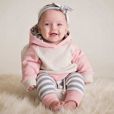 Toddler Baby Girls Winter Outfits Clothes Hoodie Tops+Pants+Headband 3PCS Set - Winter Clothes Girls