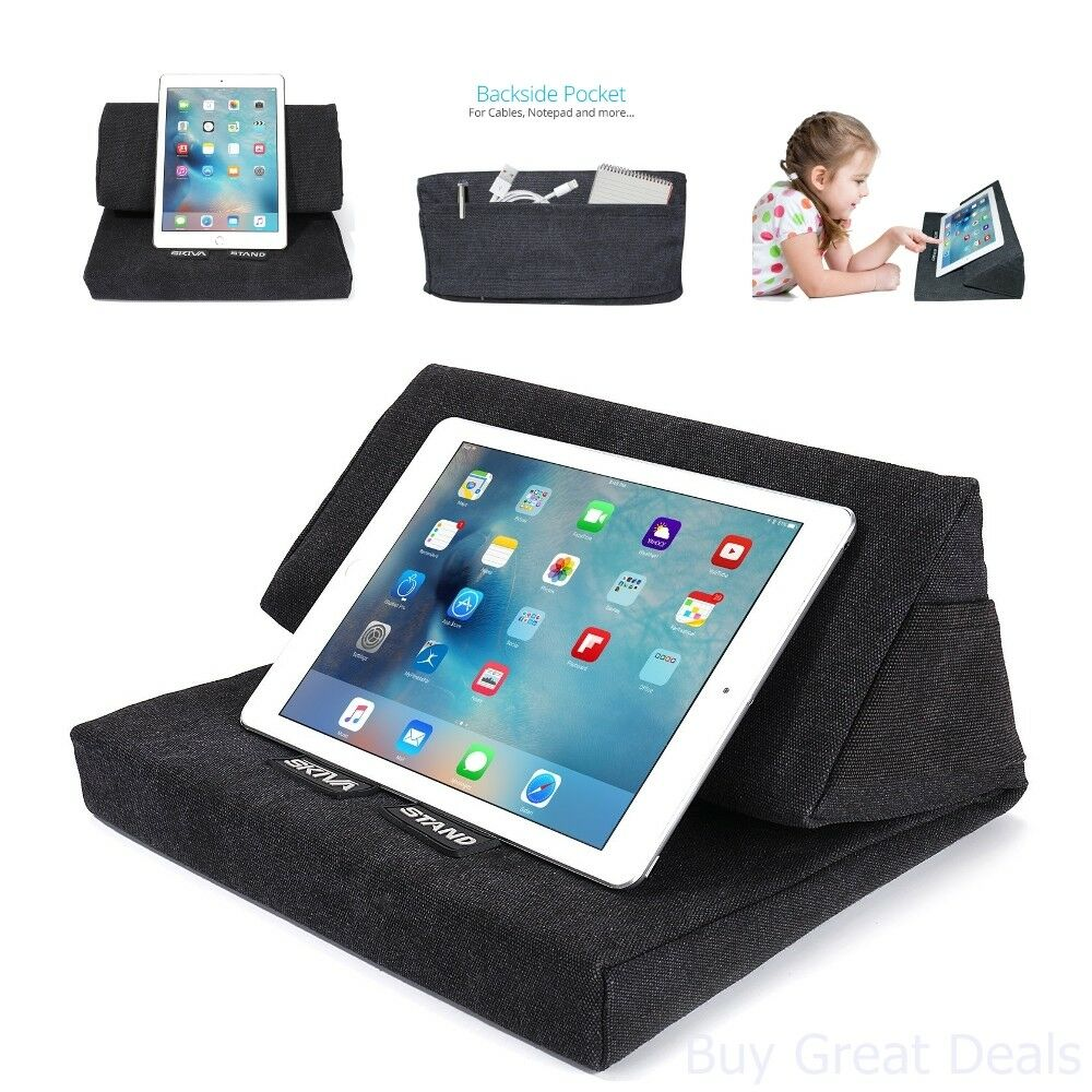 Details About Pillow Stand For Ipad Book Soft Holder Tablet Log Lap Desk Pyramid Cushion Black