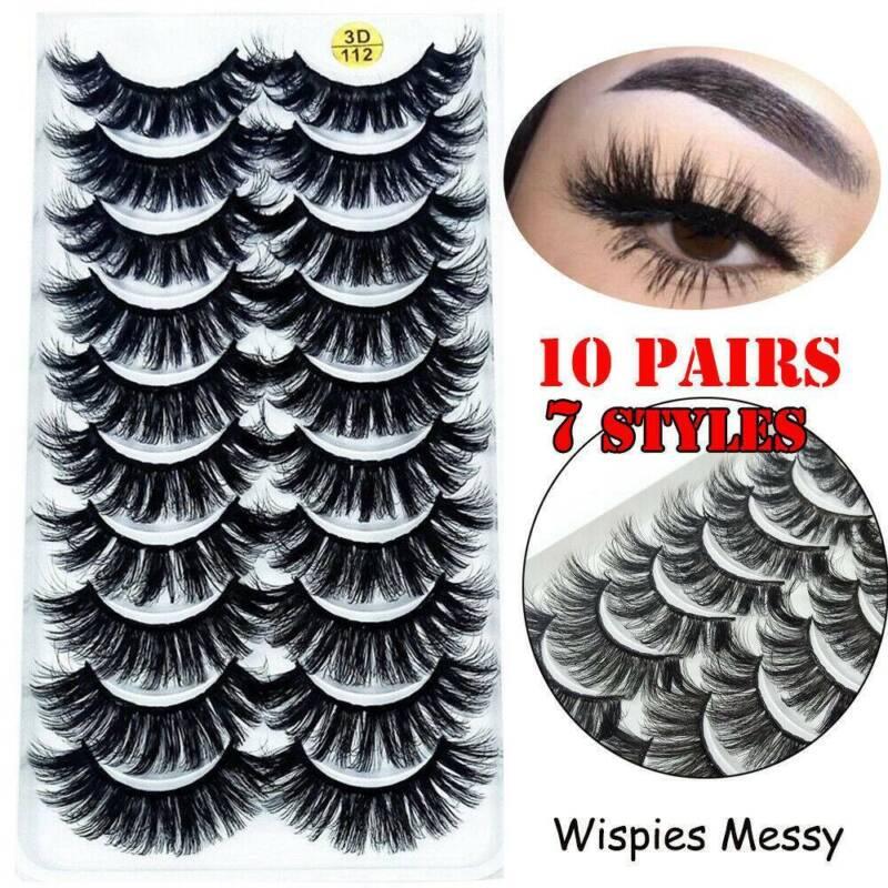 10 Pairs 3D False Eyelashes Fluffy Extension Lashes US