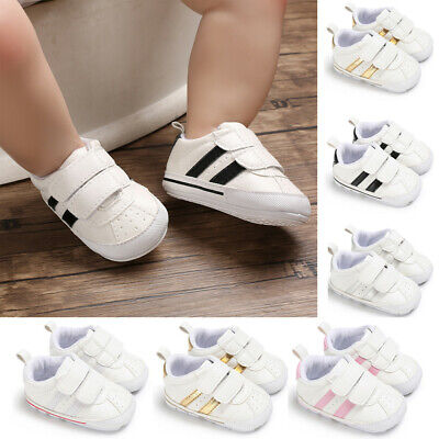 New Soft Sole Newborn Baby Boy Girl Pre-Walker White Pram Shoes Trainers 0-18M
